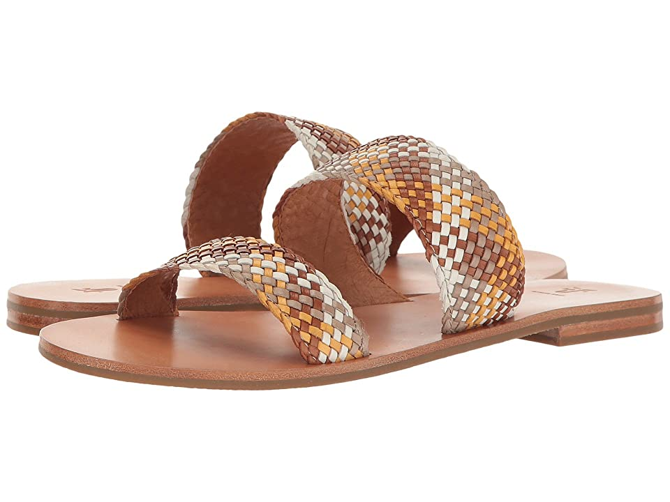 14c365154 Frye Ruth Woven Slide (White Multi Polished Soft Full Grain) Women s Sandals