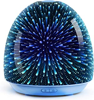 ASAKUKI Essential Oil Diffuser, 200ml 3D Glass Galaxy Aromatherapy Ultrasonic, Auto Shut -Off With 7 Color LED Lights Changing for Office Home Study Yoga Spa Baby
