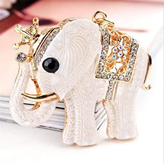 Axmerdal Women Rhinestone Keychain,Lucky Crown Elephant Key Chains Crystal Pendent Bling Clothing Accessories Handbag Decoration Sparkling Keyrings Indian Style for Purse Bag Charm (Beige)