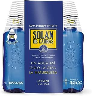 Solan de Cabras Agua Mineral con Tapon Sport - Pack de 6 x 0.75 L ...
