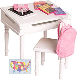 Eimmie 18 Inch Doll Furniture Desk and Chair Set - Classroom Accessories Included - Playtime Collection