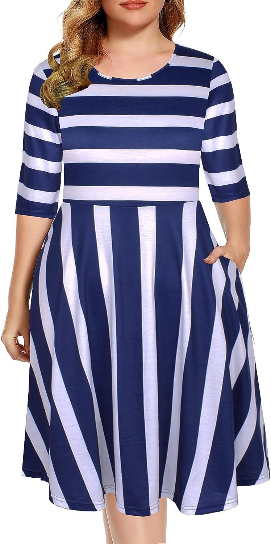 BEDOAR Plaid Swing Dress 3/4 Sleeve Empire Waist Summer Dress for Women Party Dress with Pockets