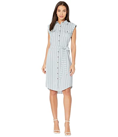 Bishop + Young Striped Button-Front Dress (Mist) Women