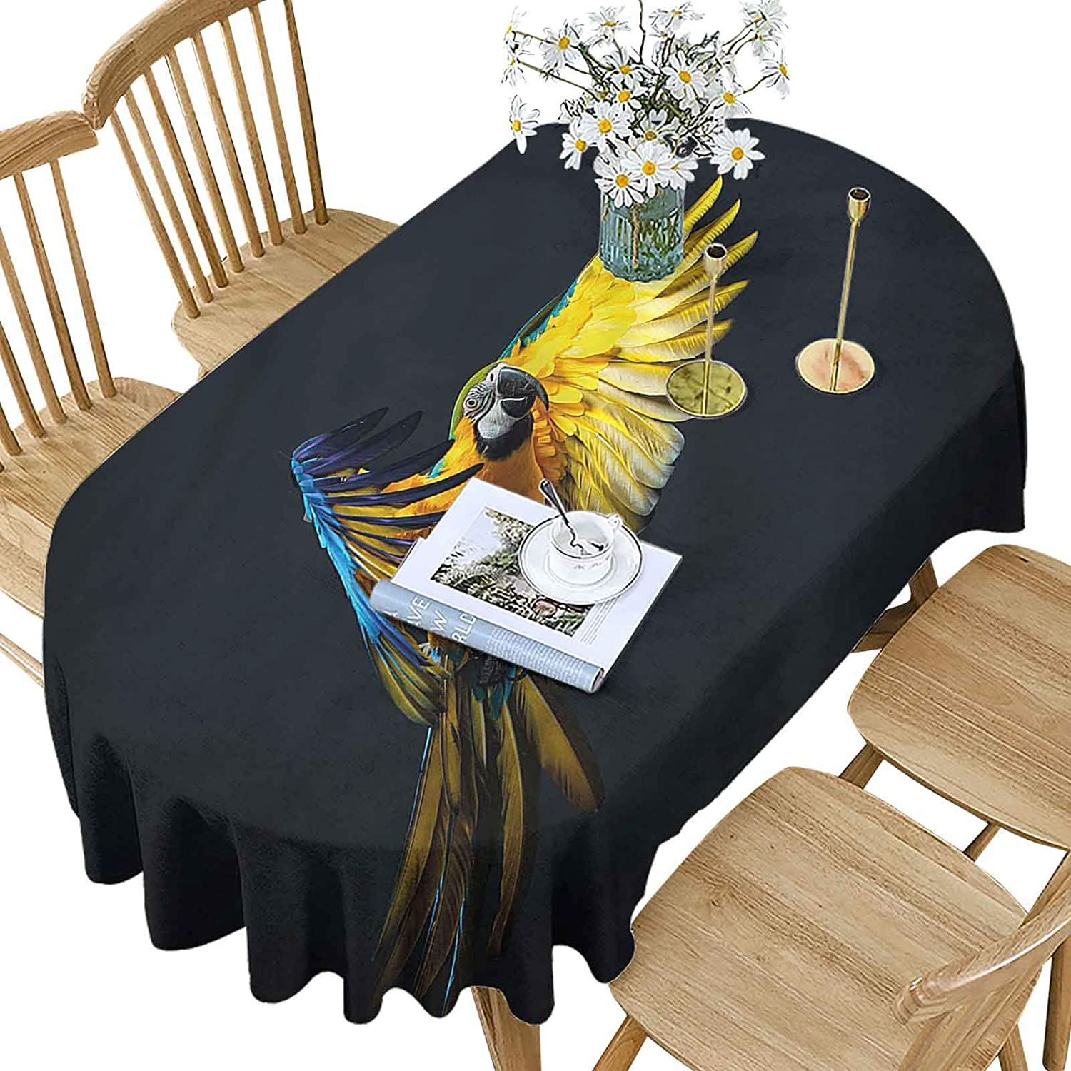 Hiiiman Max 58% OFF Bird Polyester Oval Tablecloth Wi Flying Parrot Sale special price Colorful