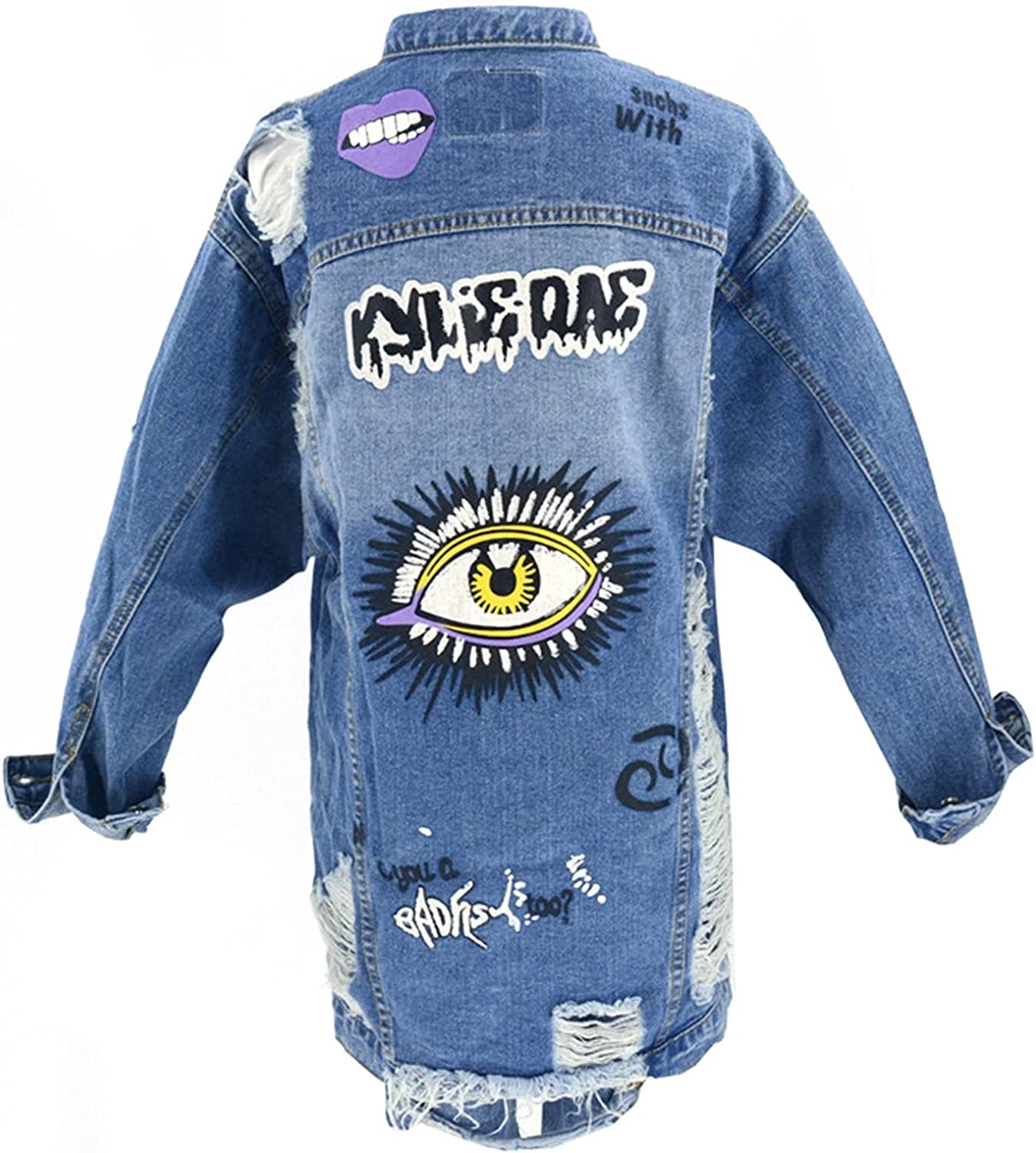 Women's Denim Jacket Fashion Casual Long Ripped Wild Outdoor Denim Jacket (Color : Blue, Size : X-Small)