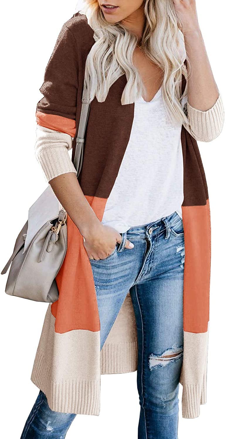 Misassy Womens Boho Open Front Cardigan Long Sleeve Striped Color Block Loose Knit Lightweight Sweater Coats