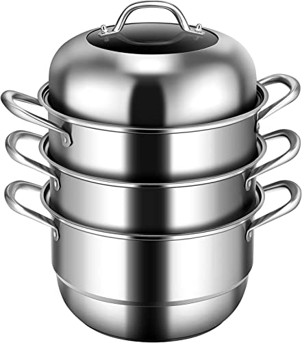 wholesale Giantex 3-Layer Stainless Steel Steamer Pot for Cooking Soup and Steaming Food Steam Pot with with Tempered Glass Lid, 2 Steaming Septa on online Gas, lowest Electric, Grill Stove (Silver) sale