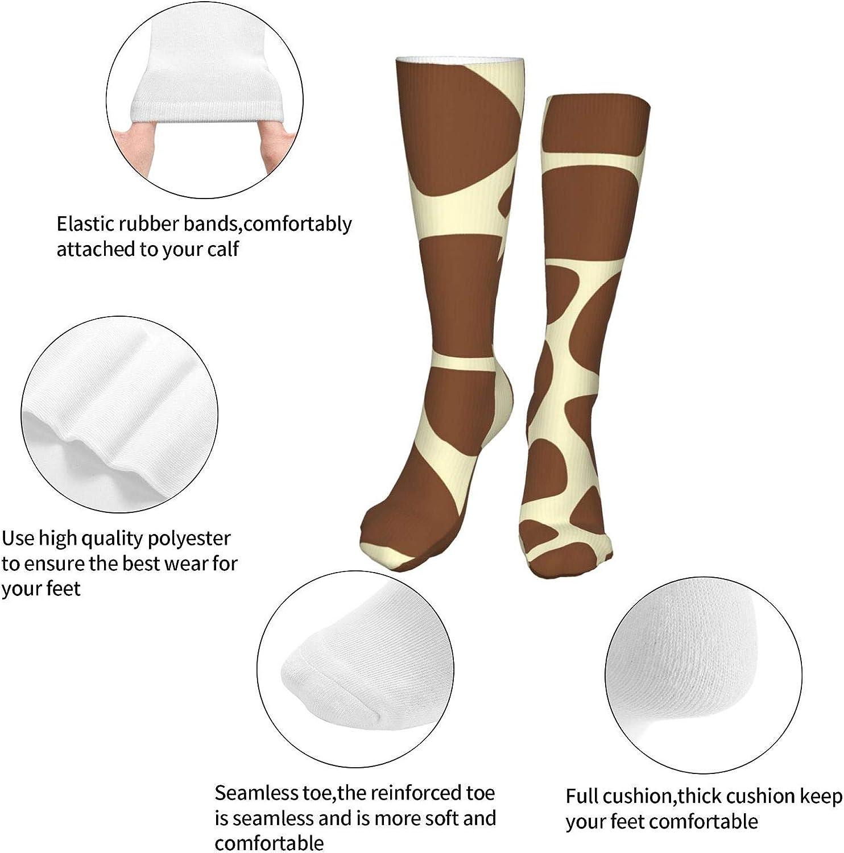 Giraffe Print Pattern Women Premium High Socks, Stocking High Leg Warmer Sockings Crew Sock For Daily And Work
