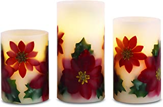 Apothecary Flameless LED Holiday Candles with Automatic Daily Timer, Set of 3 Candles