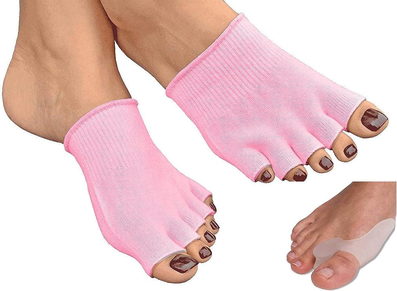 Toe Separator Socks,Five Toe Separator Socks,Foot Alignment Socks Yoga Gym Massage Toeless Socks Pain Relief Improves Circulation Stretchy Happy Feet Socks,1 Pair