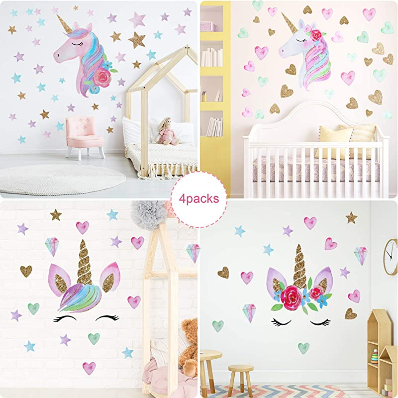 4 Pieces Unicorn Decal Unicorn Wall Stickers Pattern Decoration With Heart Star Flower Pattern Party Supplies For Children Bedroom Birthday Christmas