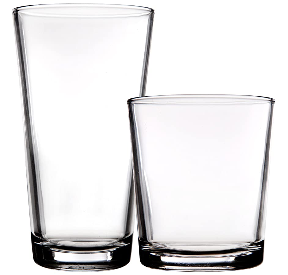 Palais Glassware 'Hendaye' Collection, Clear Glass Sets (Set of 16-8 17 OZ & 8 13 OZ, Clear)