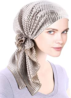 Bella Scarf Plisse Chemo Hat Turban Head Scarves Pre-Tied Headwear Bandana Tichel for Cancer