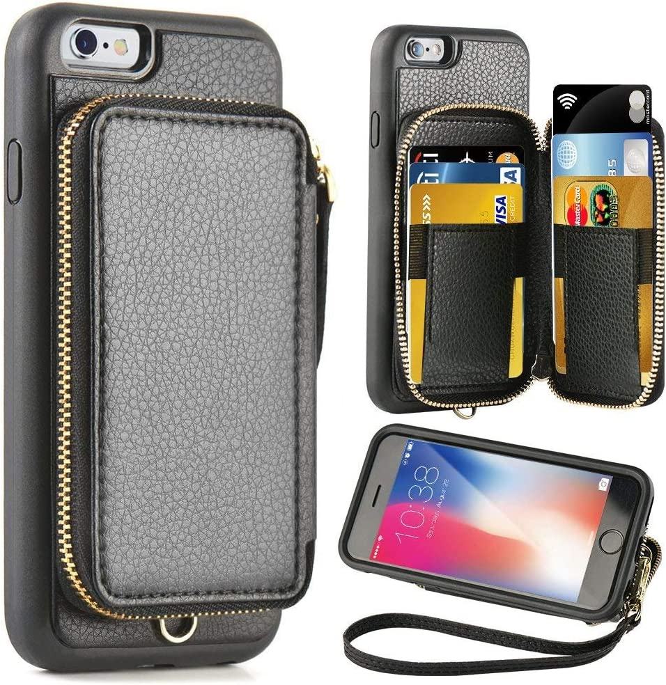 ZVE Case for Apple iPhone 6 Plus and iPhone 6s Plus, 5.5 inch, Leather Wallet Case with Credit Card Holder Slot Zipper Wallet Pocket Purse, Cover for Apple iPhone 6 Plus/6s Plus-Black