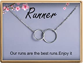 Runner Gift Necklace Two Interlocking Infinity Double Circles Necklace Delicate Necklace for Women Girl Running Lovers