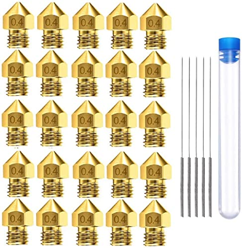 AJSPOW 25PCS 0.4mm 3D Printer Extruder Brass Nozzles for Makerbot MK8 Creality CR-10 Ender 3 3Pro 5 with 5PCS 0.4mm S...