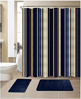 All American Collection New 15 Piece Bathroom Mat Set Memory Foam with Matching Shower Curtain (Stripe Navy)
