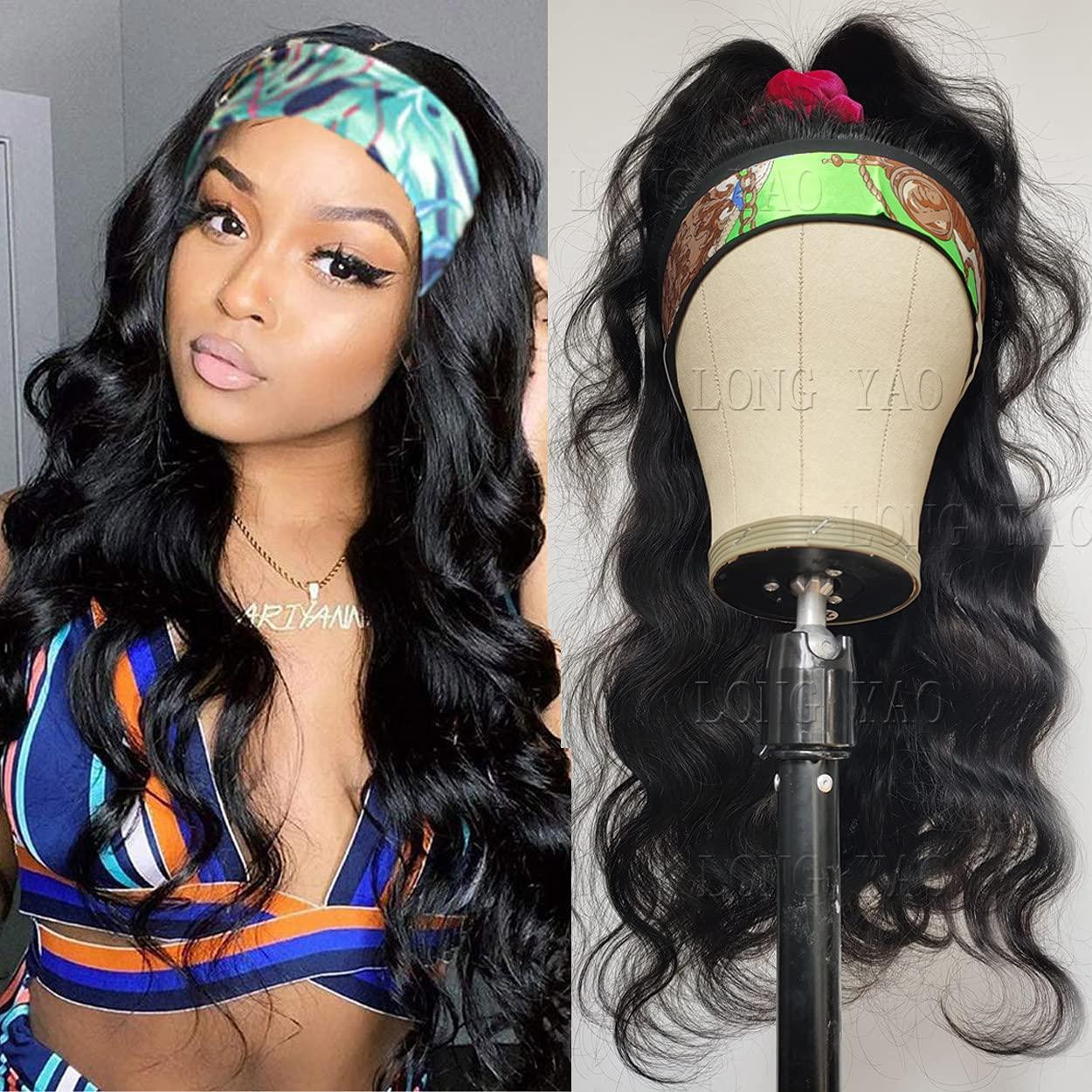 LONG Save money Under blast sales YAO Headband Wigs for Black Head Body Wave Human Women Hair