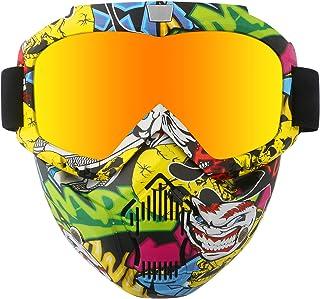 عینک شیشه ای مخصوص موتور سیکلت شیشه ای با ماسک صورت قابل جدا شدن ، عینک قابل شستشو با مهار قابل جدا شدن فیلتر شفاف دهان قابل تنظیم بدون لغزش ویندوز ضد گلوله ضد گلوله Motocross