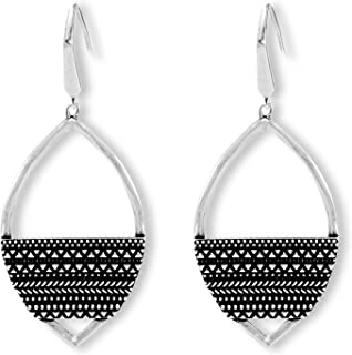 Steve Madden Oxidized Silver-Toned Textured Marquise Dangle Earrings for Women