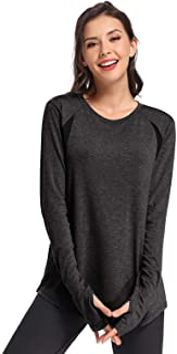 Muzniuer Women's Workout Long Sleeve T Shirt Plain Long Sleeve Shirt Yoga Tops Gym Sports T-Shirt with Thumb Hole