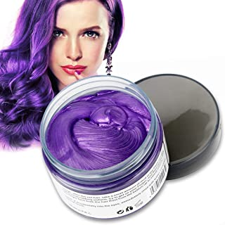 MOFAJANG Hair Color Wax 4.23 oz Purple Hair Wax Temporary Hair Dye Unisex Hairstyle Pomade Cream Mud Wax for Men and Women(Purple)