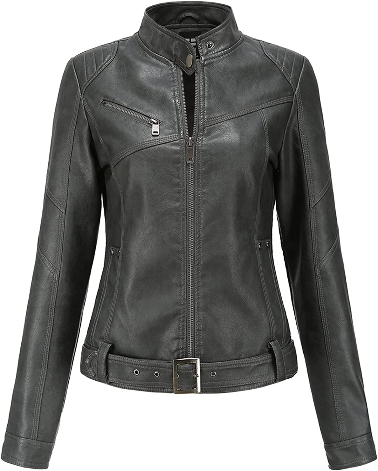 NIDOV Collared Leather Jacket for Women Moto Ranking TOP4 Biker Max 74% OFF Cropped Zippe