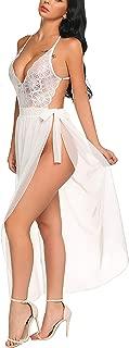 Avidlove Women One Piece Lingerie Deep V Lace Bodysuit Mosaic Lace Teddy Mesh Skirt