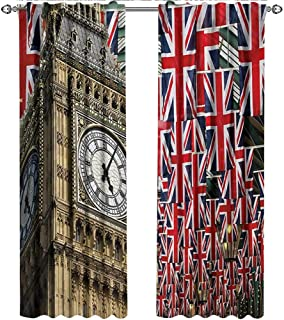 shenglv Union Jack, Curtains Dining Room, UK Flags Background with Big Ben Festive Celebrations Loyalty, Curtains Kids Bedroom, W108 x L96 Inch, Pale Coffee Navy Blue Red