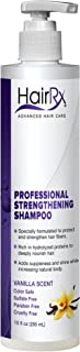 HairRx Professional Strengthening Shampoo with Pump, Luxurious Lather, Vanilla Scent, 10 Ounce