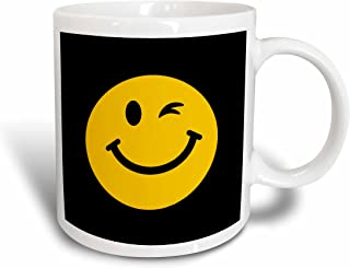 3dRose Winking Smiley Face - Yellow, Happy, Flirty, Cheeky, Cute Fun Cartoon on Black - Ceramic Mug, 15-Ounce (Mug_123148_2)