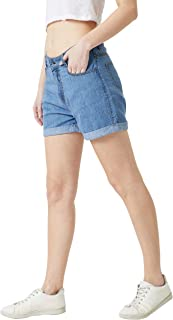 Miss Chase Women's Regular Length Mid Rise Denim Shorts
