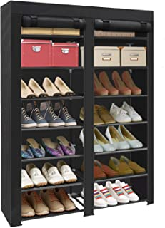 ERONE Shoe Rack Storage Organizer , 28 Pairs Portable Double Row with Nonwoven Fabric..