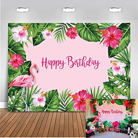 HUAYI 6.5x5ft Summer Tropical Style Hawaiian Beach Luau Floral Flamingo Birthday Backdrop for Photography Baby Shower Dessert Table Decor Photocall Studio Background W-1902