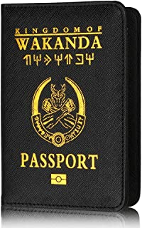 Passport Cover - Kingdom of Wakanda Premium Leatherette Passport Holder Holder with Block for Credit Cards, ID and Travel Documents Black Panther Wakanda