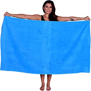 La Calla Turkish Beach Towel - Oversized 35 Inches by 60 Inches Bath Towels - 100% Terry Velour Cotton - Multipurpose Use for Beach Bath and Spa - Eco Friendly Material (Aqua, 1)