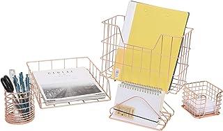 YCOCO 5 Piece Desk Organizer Set,Office Supplies Desk Accessories Set with Letter Sorter,Paper Tray, File Organizer, Penci...