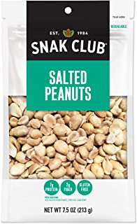 Snak Club All Natural Salted Peanuts, Non-GMO, 7.5-Ounces, 6-Pack