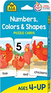 School Zone - Numbers, Colors & Shapes Puzzle Cards - Ages 4+, Numbers, Words, Vocabulary, Animal Names, Counting, and More