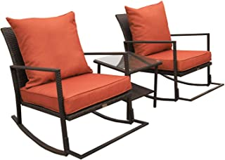 VALITA 3 PCS Outdoor Patio PE Rattan Furniture Rocking Conversation Set End Table with Glass Top and 2 Cushioned Chairs, Dark Orange