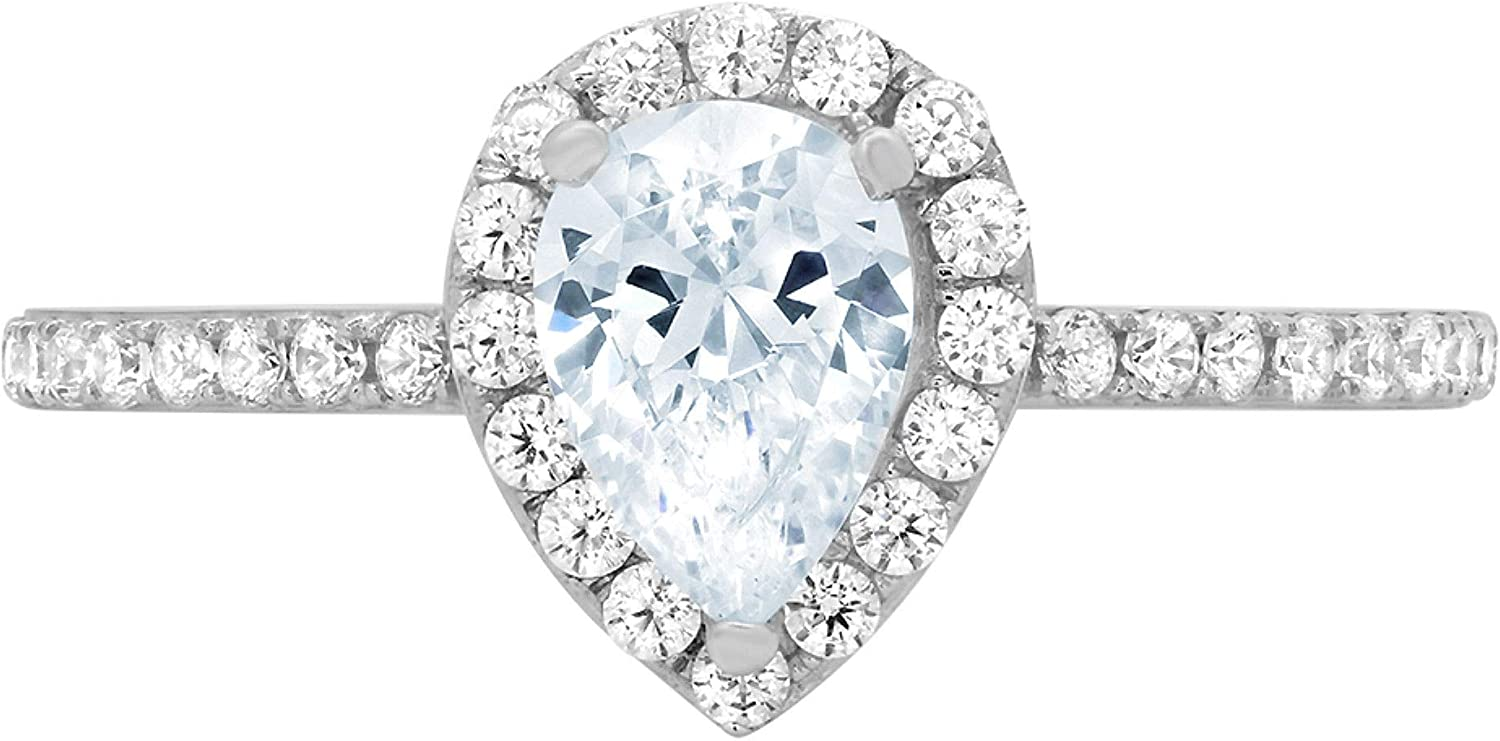 1.22ct Brilliant Pear Cut Solitaire with accent Flawless Classic Swiss blue Topaz Ideal Engagement Promise Anniversary Bridal Wedding Designer Ring 18k White Gold