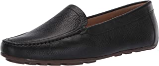 Driver Club USA Women's Leather Made in Brazil Luxury Driving Loafer with Venetian Detail, Black grainy/Natural sole, 8.5 ...