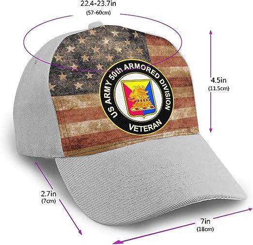 US Army 50th Armor Unit Crest Veteran Men Women Hip Hop Hat Trucker Flat Hats Adjustable Snapback Hats