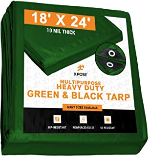 Heavy Duty Poly Tarp 18 Feet x 24 Feet 10 Mil Thick Waterproof, UV Blocking Protective Cover - Reversible Green and Black...