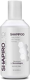 Champú Shapiro MD que contiene los 3 bloques DHT más potentes y naturales para un cabello más grueso, más completo y más saludable (1 mes de suministro) (Shampo)
