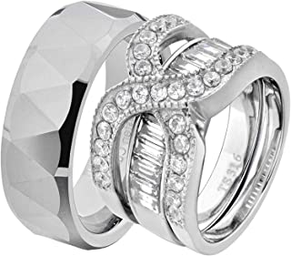 His & Hers Wedding Ring Sets Stainless Steel Round CZ Triangle Faceted Tungsten Men FD