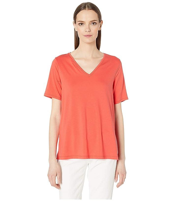 Eileen Fisher Tencel Jersey V-Neck Short Sleeve Top (Red Lory) Women's T Shirt