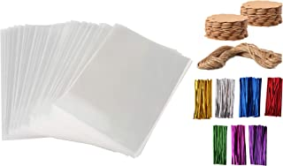 Cellophane Bags - JAP Gifts - 100 Pieces 5x7 Party Favor Bags with Kraft Gift Tags and Colored Ties - Clear Treat Bags for Wrapping Baked Goodies, Cookies, Candy, Chocolates and Desserts