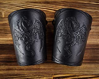 Hand Made Full Grain Leather Cuffs Bracers - LARP Gauntlet - Dragon Leather Wristbands - LARP Accessories Viking Bracers - Halloween Ren faire costumes- Length 5