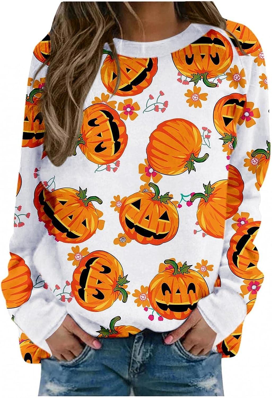 AODONG Halloween Sweatshirts for Womens Funny Pumpkin Printed Tops Long Sleeves Pullover Blouse Shirts